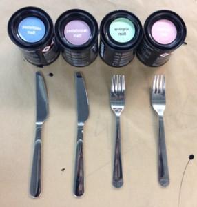 Pastellfarben für Besteck